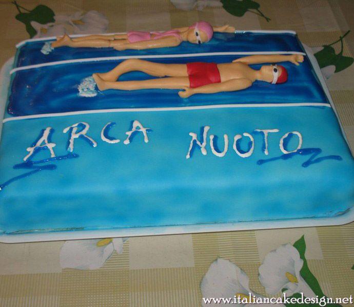 Torta Arca Nuoto con pan di spagna alla vaniglia e crema alla nutella