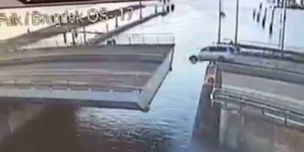 Driver tries to jump open bridge FAIL