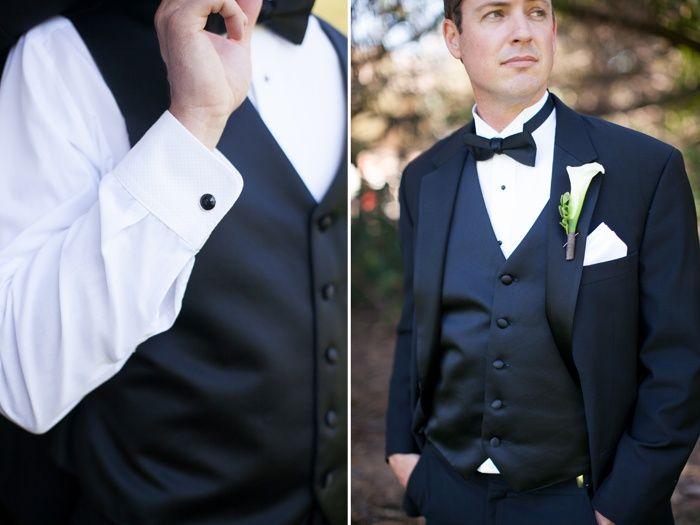 Classic black and white groom attire, black bow tie <3