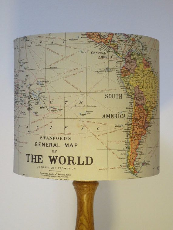 "Light up your life with this vintage map-covered <a href=""http://go.redirectingat.com?id=74679X1524629"
