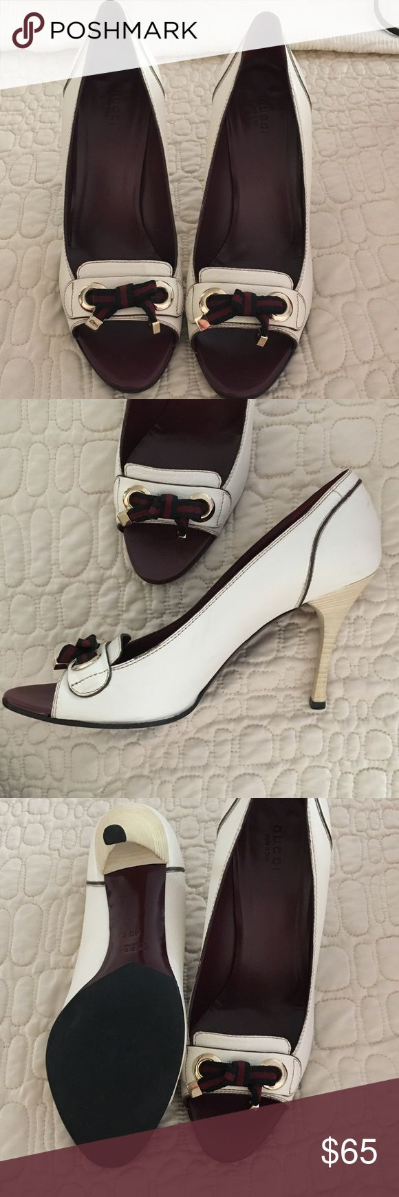 EUC Gucci Open Toe Pumps EUC Gucci open toe pumps, really cute.  Purchased here on Posh to wear to a specific event then wore something else.  As far as I know, these are authentic.  Just slightly off white in color.  Smoke free, pet free home Gucci Shoes