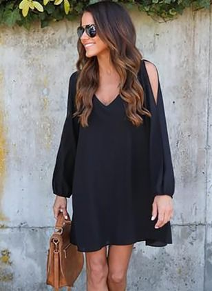 Polyester Solid Long Sleeve Above Knee Casual Dresses (1038584) @ floryday.com