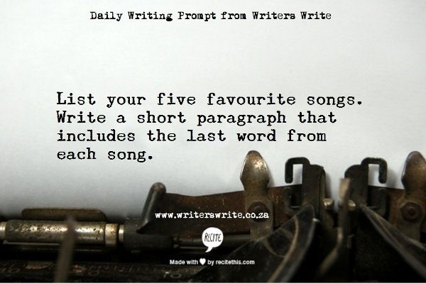 "amandaonwriting: ""Writing Prompt – Musical Inspiration """
