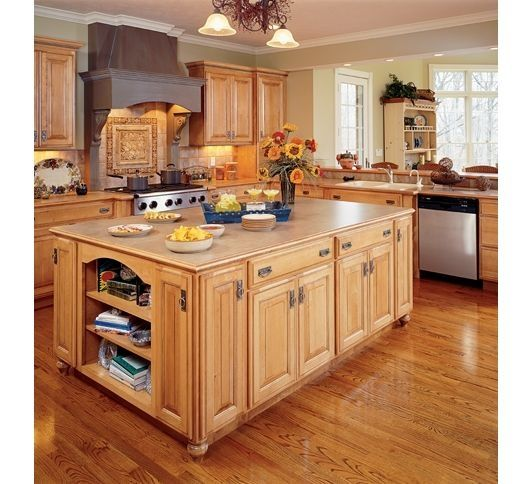 Whit Cabinet And Hickory Cabinets In A Kitchen