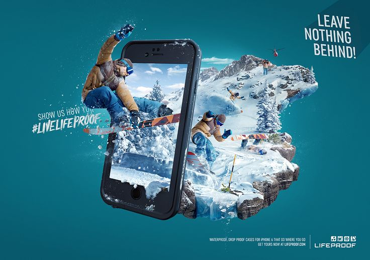 Key visuals to launch the new iPhone 6 case, which accompanied the LifeProof booth during CES Conference in Las Vegas.