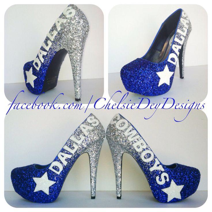 Dallas+Cowboys+Faded+Glitter+High+Heels+by+ChelsieDeyDesigns,+$110.00