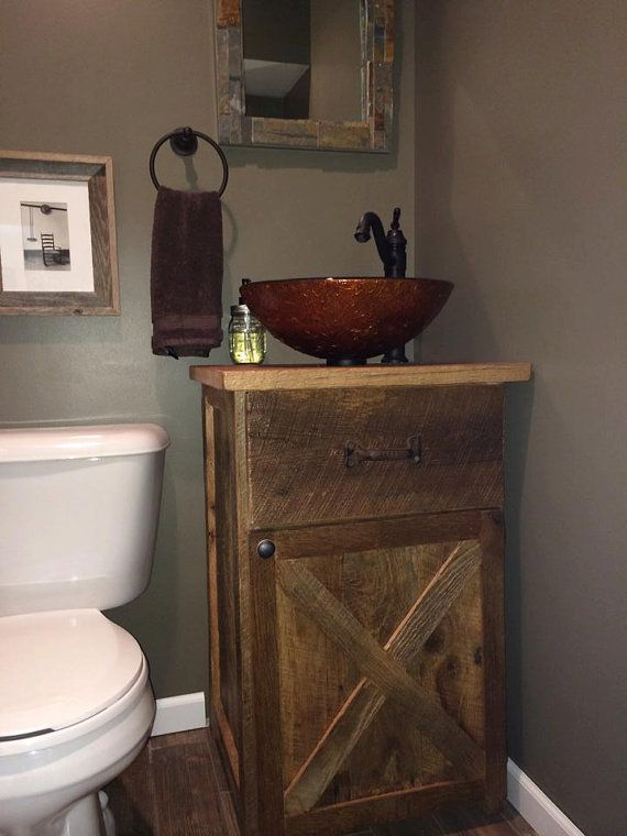 Bathroom Countertops And Sinks >> YOUR Custom Rustic Barn Wood 24 inch Vanity or Cabinet Barn Door and FREE SHIPPING - BWSV451 ...