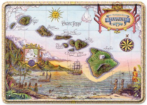 Map of Old Hawaii by Steve Strickland - Tin Sign Postcard - Vintage Hawaiian Style by Pacifica Island Art. $5.98. Size is 5 inch x 7 inch - Manufactured from sturdy .3mm tinplated sheet metal - with pre drilled holes for easy wall mounting. Beautiful Hawaiian Themed Tin Sign Postcards. Paper Coated Back - The back of the card is coated with recycled paper and can be written on like a regular postcard. Beautiful Four Color Offset Printing - protected with a high glo...