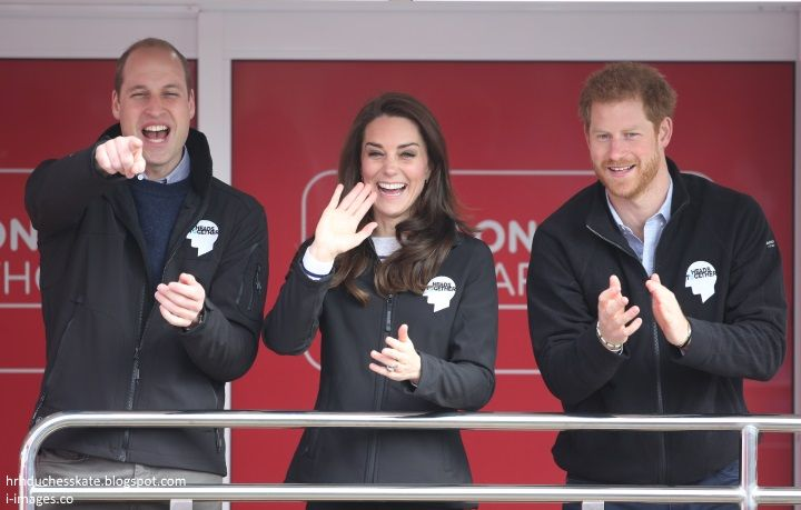 hrhduchesskate:  HeadsTogether Charity of the Year, 2017 Virgin Money London Marathon, April 23, 2017-The Cambridges and Prince Harry encourage the runners