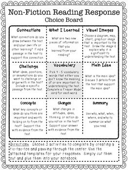 NON-FICTION READING RESPONSE CHOICE BOARD - VERSION 2 - TeachersPayTeachers.com