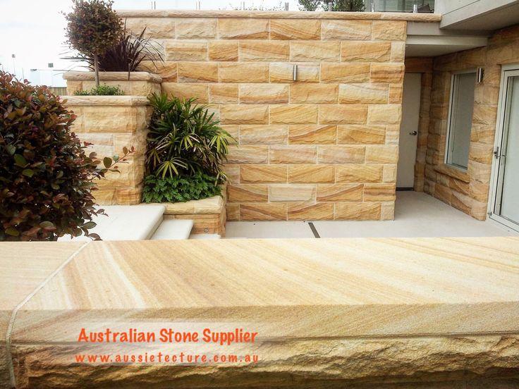 Australian Sandstone rockface. Rockface Sandstone 400mm*200mm*25mm. Also available in Australian Sandstone Capping. 4 colors are available. #sandstone #stone#stonewall#landscapeidea#landscapedesign#exterior -Natural stone cladding -sandstone cladding -Garden design -Sandstone quarry -Garden idea -Sandstone Capping -Australian Sandstone -Outdoor living -Sandstone Logs -Sandstone Retaining Wall -Sandstone Blocks -Sandstone House -Sandstone flooring -Sandstone Paving -exterior design