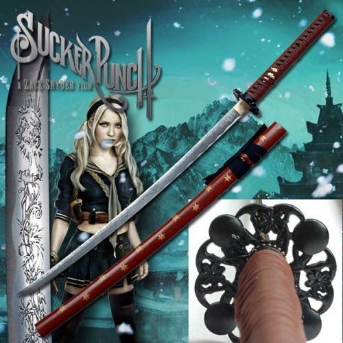 Sucker Punch MC-SP001 Fantasy Sword (41.5-Inch Overall) by Sucker Punch. $139.99. From the smash hit movie Sucker Punch comes this fantastic replica of the Babydoll sword. The Sucker Punch katana is fully licensed and an exact replica of its onscreen counterpart.The Babydoll katana features a carbon steel blade engraved with the same symbols as the one from the movie. The handle is wrapped in leather and rayskin and the scabbard features snowflakes in gold color.This offi...