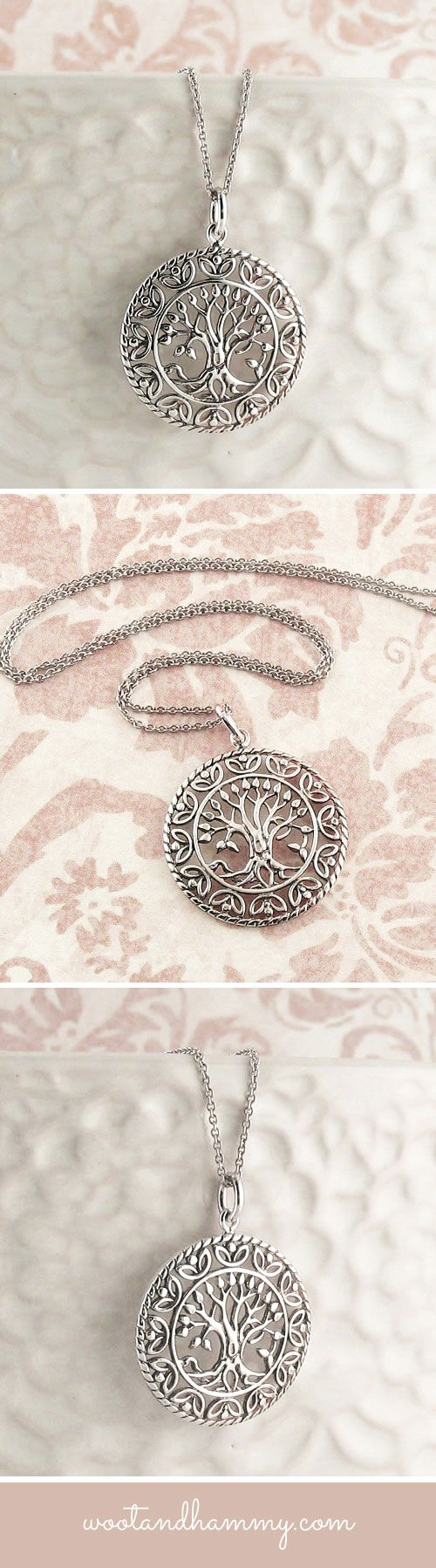 beautiful tree of life necklace in sterling silver.