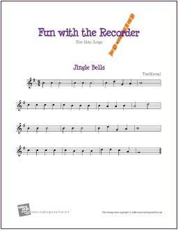 Jingle Bells | Free Sheet Music for Recorder - http://www.makingmusicfun.net/htm/f_printit_free_printable_sheet_music/jingle-bells-recorder-solo.htm