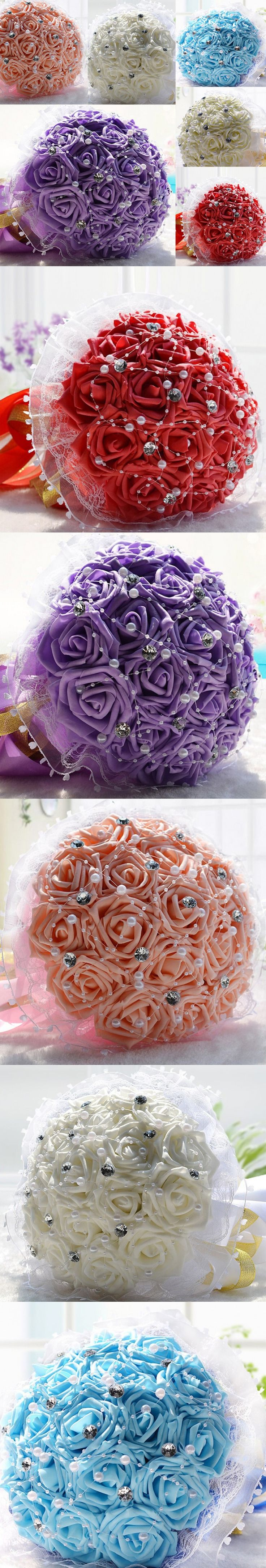 New Fashion Rose Crystal Pearls Wedding Flowers Fast Shipping Bride Wedding Bouquet 2015 New buque de noiva