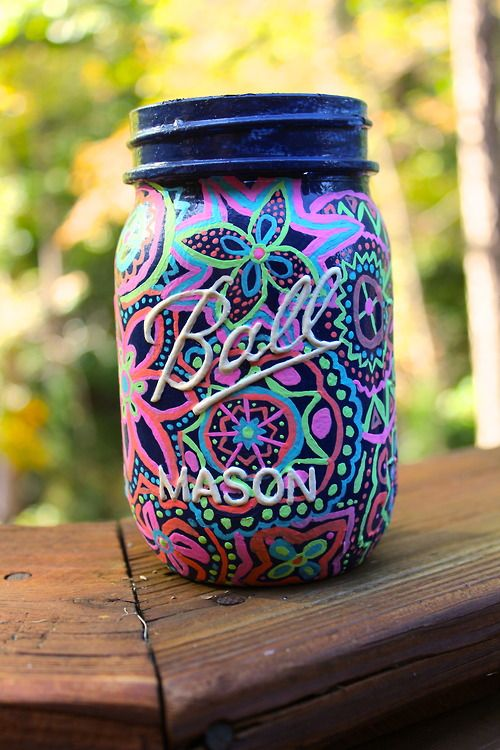 Draw with Paint Pens or Sharpies to make one of these Cute Mason Jars!