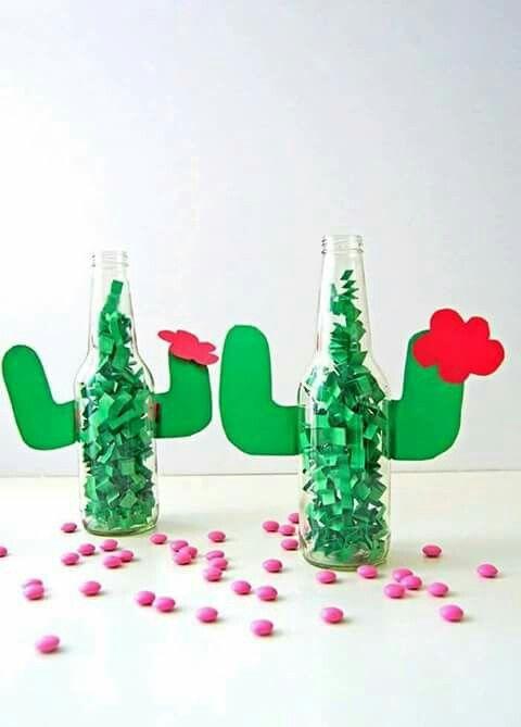 Fun cactus table decoration for outdoor party or cinqo de mayo !