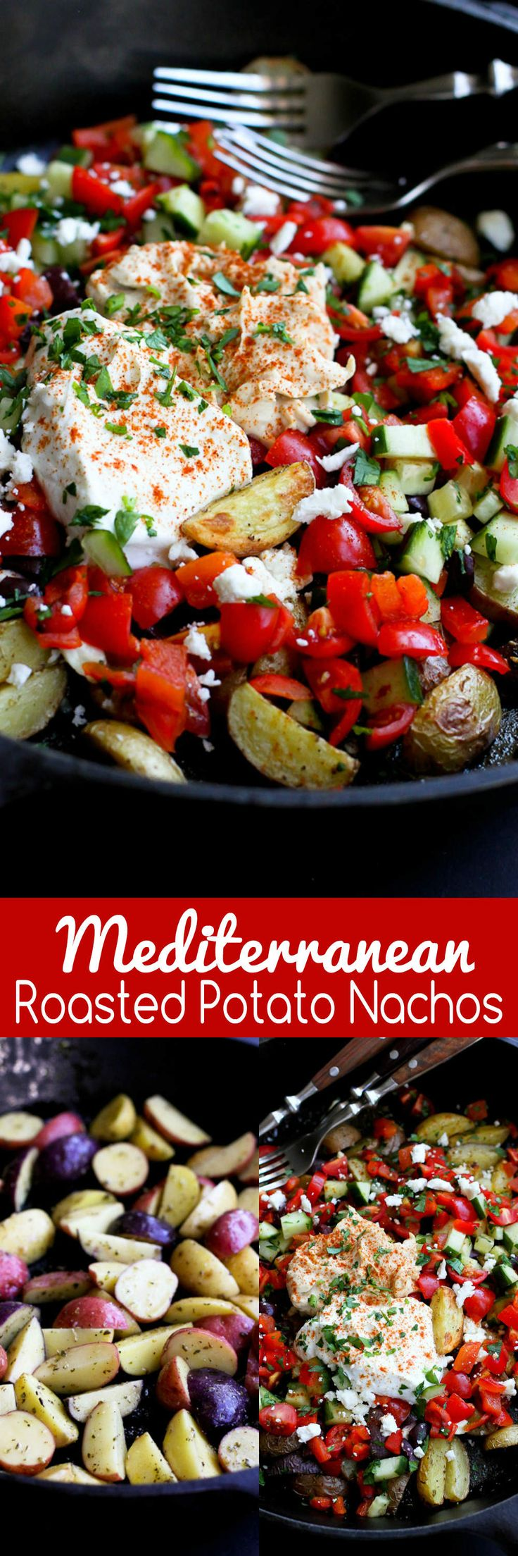 Mediterranean Roasted Potato Nachos…Bring a bunch of forks to the table and let everyone dig into this delicious, healthy appetizer! 144 calories and 5 Weight Watchers SmartPoints