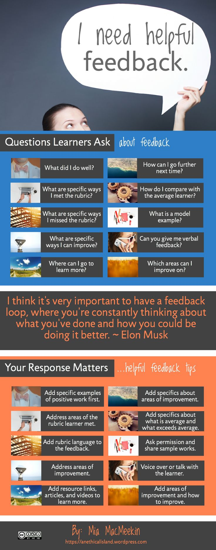 Infographic. Useful Feedback Q&A by Mia MacMeeken I chose this picture because it shows how important student feedback is in reflection.