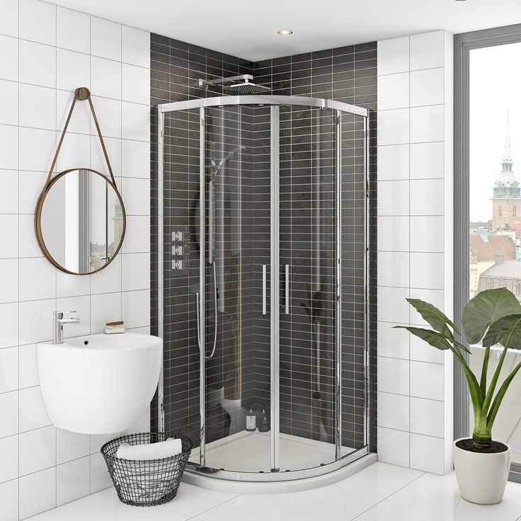 Rand 8mm easy clean sliding quadrant shower enclosure (800 x 800) at VictoriaPlum.com. Plus 365 day no quibble returns. - £279