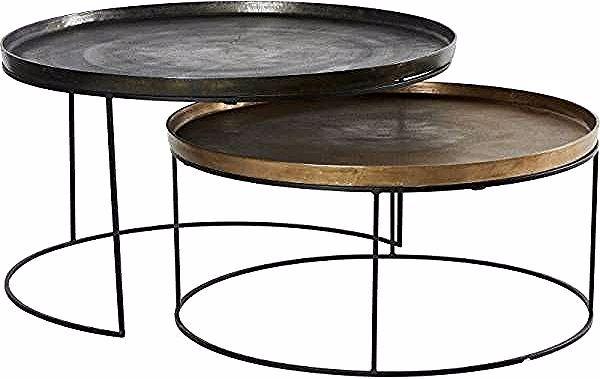 Lot De 2 Tables Basses Zurick Hanjel Consoles Dessertes Gigognes Rondes En Fonte D Aluminium Laiton Et Gris Coffee Table Metal Coffee Table Side Table