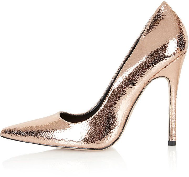 """100 Pumps, $100 and Under. Rose gold crackled leather high skinny heel court shoes with pointed toe. heel height approx 4.5"""". 100% leather. specialist clean only."""