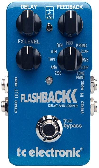 TC Electronic FlashBack Delay Pedal. This compact pedal gives you 11 delay types that include a looper along with modern stereo connectivity, true bypass and spill over control. For a Guide to Delay Pedals see http://www.guitarsite.com/delay-pedal/