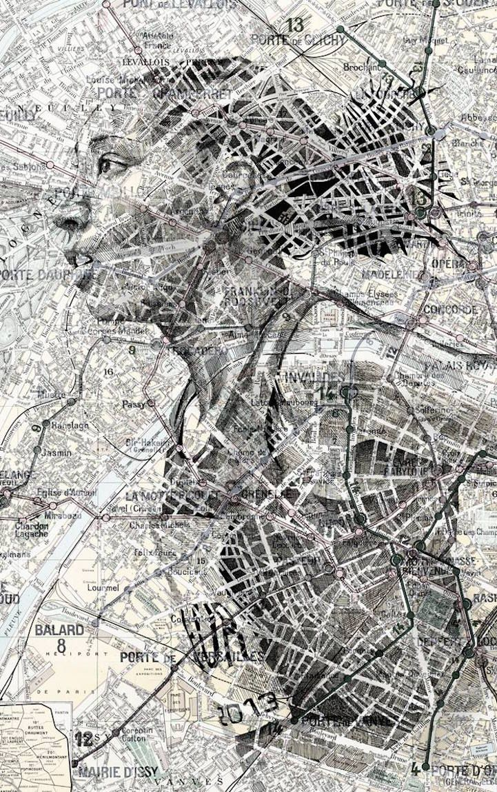 Artist Ed Fairburn uses maps as his canvases for stunning ink and pencil portraits. #art