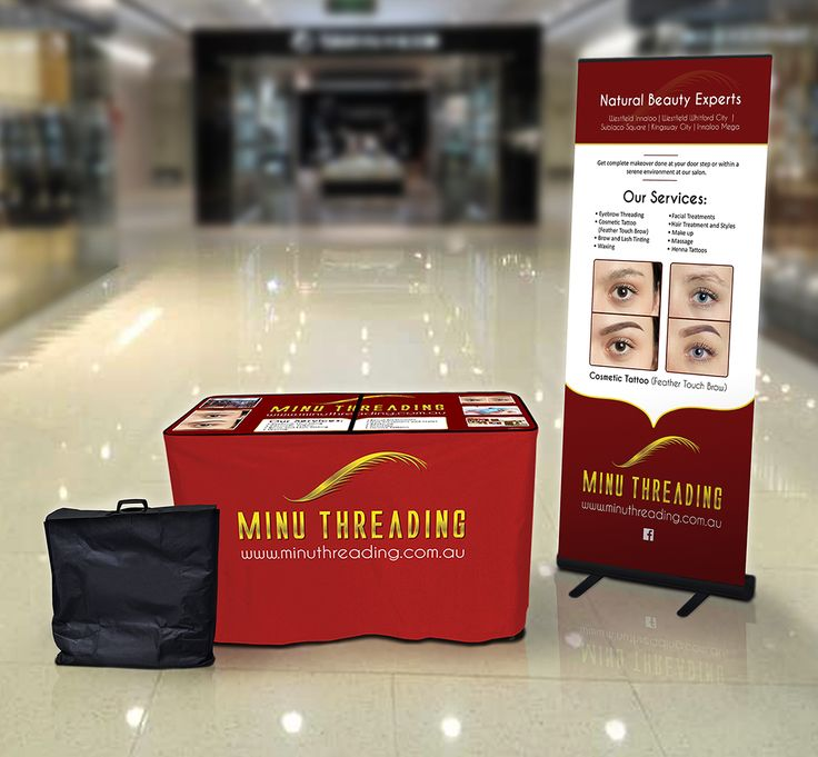 2-Panel Table. Custom Printed table top and Red Canvas Valance front. Complete with full-colour printed pull-up banner and protective carry bag for the table. Order Today!