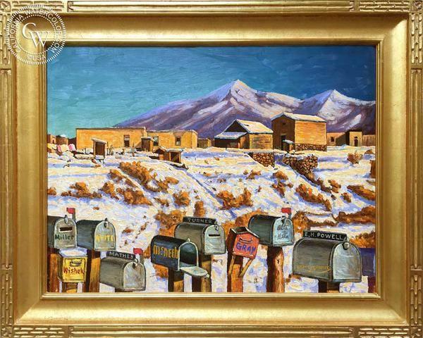 Frank J. Gavencky - Santa Fe Mailboxes, an original California oil painting for sale, original California art for sale - CaliforniaWatercolor.com