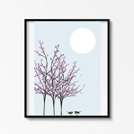 Lamina de arbol luna y pajaroslaminas para imprimir y
