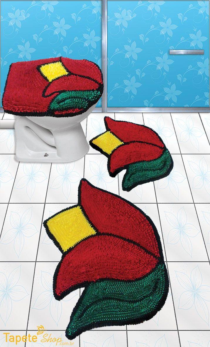 Jogo de banheiro tulipas - Frufru | Tapete Shop | Elo7