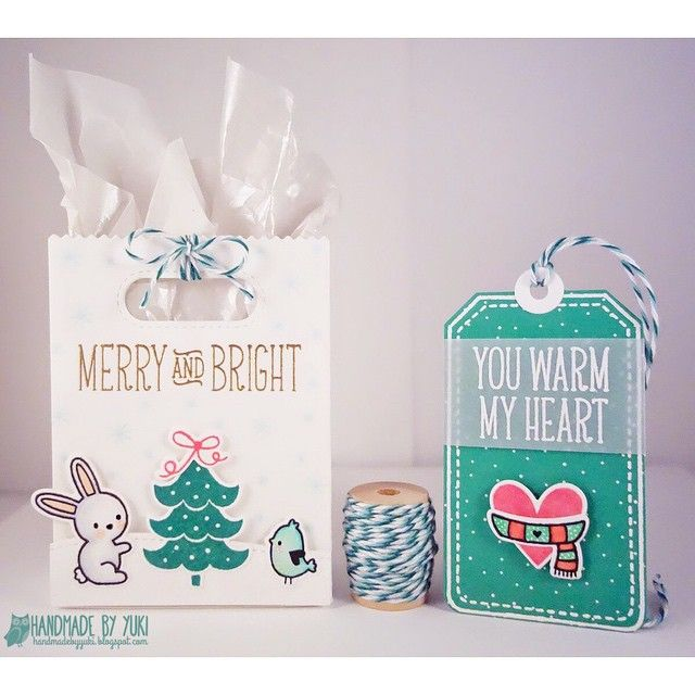 """I'm a Guest Designer over on the Trendy Twine Blog this weekend ! For today's post I have a cute gift bag and tag featuring their """"Tickled with Teal"""" Trendy Twine 