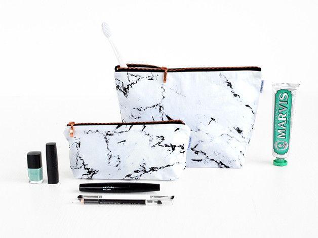 Make-up tassen - marmer & koper // etui pouch case make-up tas - Een uniek product van renna-deluxe op DaWanda