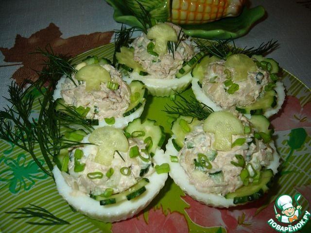 Салат с тунцом в яичных тарталетках ингредиенты