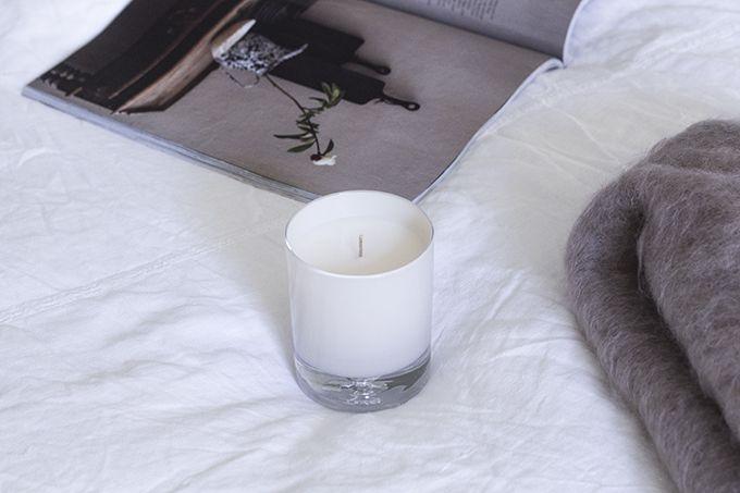 Home decor details, magazines, candles, linen, kid mohair throw Balmuir via Coffee Table Diary