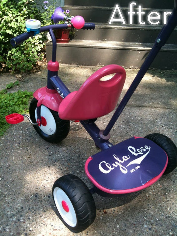 Recycled, painted, and stenciled trike! We were offered one by a friend and when we get it this is SO what I will be attempting with it.