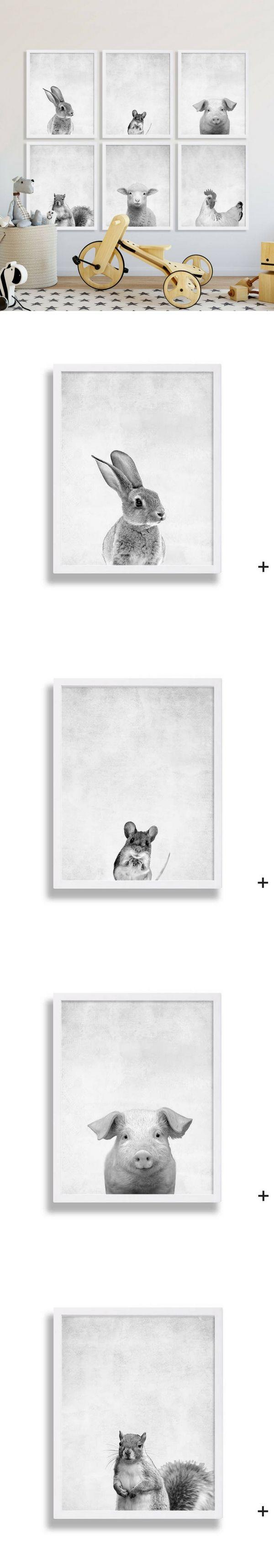 """Affiches """"animaux"""" en noir et blanc pour la décoration de la chambre des bébés, vu sur Etsy"""