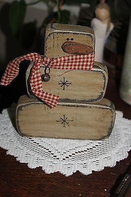 Primitive Winter/Christmas Snowman w Rusty Bell  wire Shelf Sitter