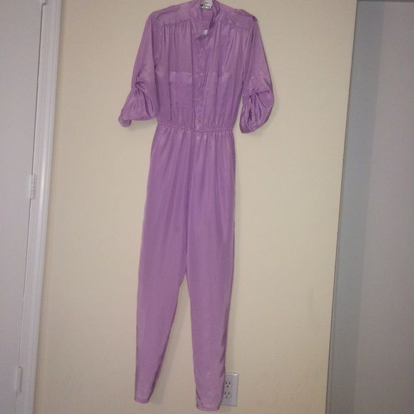 Pastel purple jumpsuit Vintage/ retro pastel purple jumpsuit /one piece. LOVE LOVE LOVE this kind of sheer material (not see through) very light perfect for summer and the fit is nice for a s/m size 6/7. #pastel #80s #purple #playsuit #70s #girly #classy Other