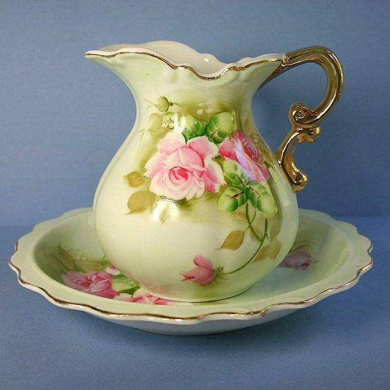 Vintage Lefton China Hand Painted  Pitcher and Bowl Set.