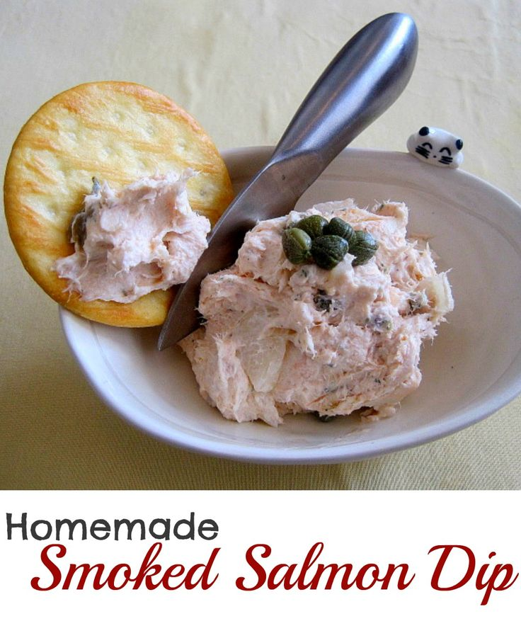 So easy and so delicious, you'll never buy it again. Smoked Salmon Dip with topped with capers.