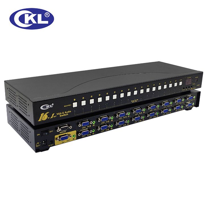 CKL-161S 16 Port Auto VGA Audio Switch 16 in 1 out PC Monitor Switcher Rack with IR Remote RS232 Control 2048*1536@450MHzMetal #Affiliate