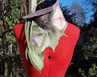 Gefilzte Wolle Schal in Pflaume, rosa und grau. Einzigartige gefilzte Schal mit gefilzten Blatt bindet. Kaschmir weichen Kragen. Tragbare Kunst Schal. Damen-Geschenk.