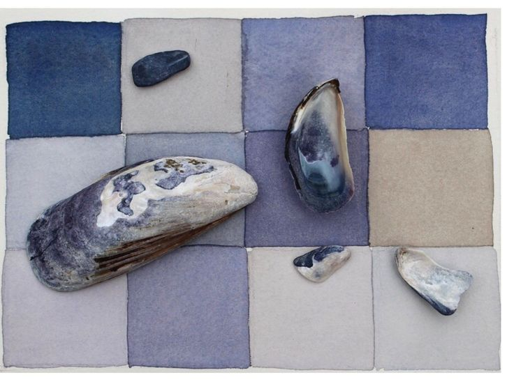 The Mussel Shells watercolor painting - the inspiration for the Mussel Shells rug #interiordesign #homedecor