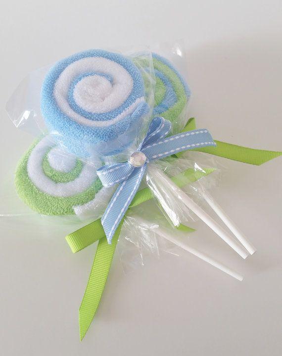 Washcloth Lollipops Baby Washcloth Gift door LilLoveBugsCreations