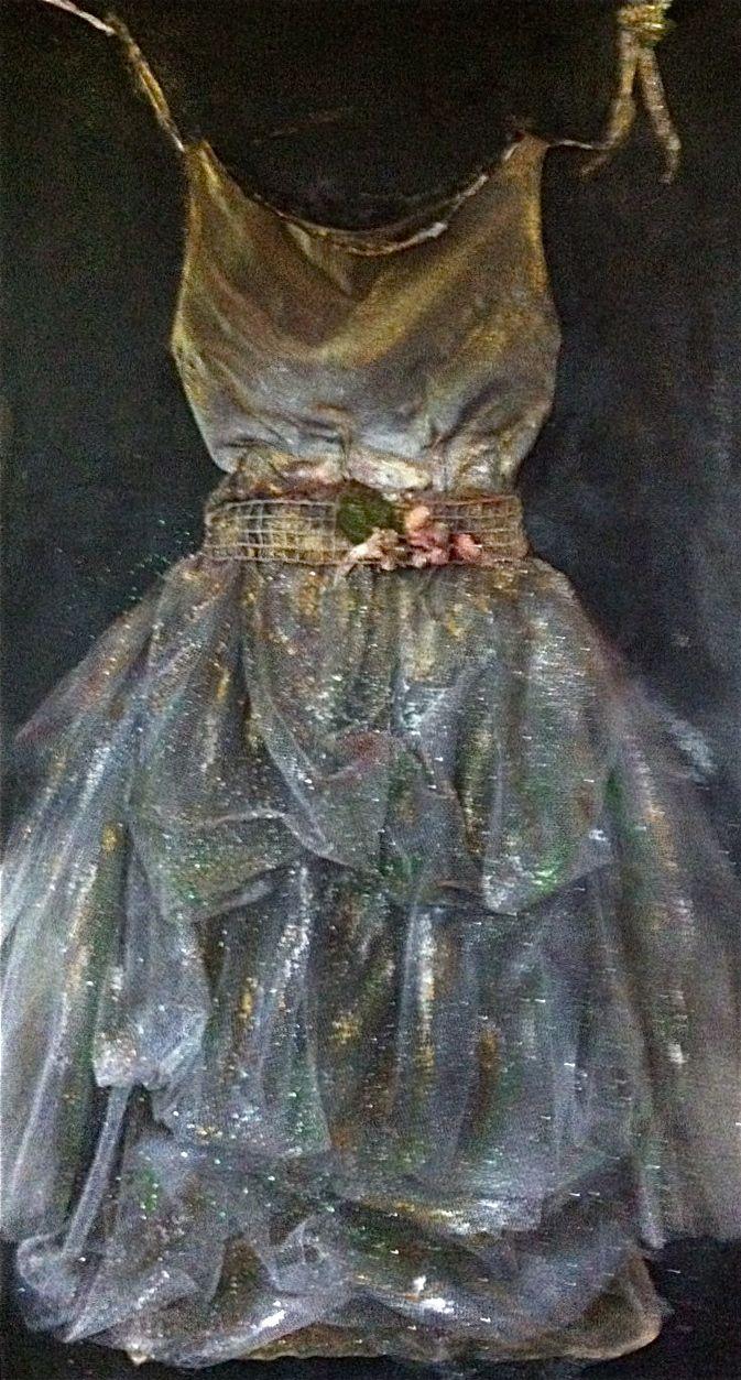 """The Ball"" - 60x40 vintage dress on canvas by marie lardino"
