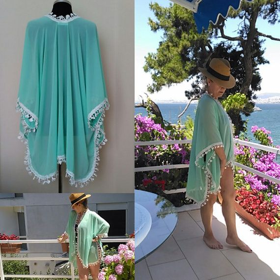 Beach  Kimono   Oversize cover up    Turquoise by HandmadebyNadya