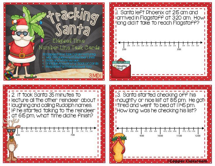 Christmas themed elapsed time task cards.
