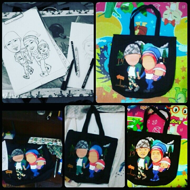 Step by step how to make painting totebag